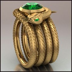 CT Round Green Emerald Yellow Gold Over Silver Snake Ring Free Sizable Snake Jewelry, Animal Jewelry, Jewelry Art, Antique Jewelry, Jewelry Rings, Jewelry Accessories, Vintage Jewelry, Fine Jewelry, Fashion Jewelry