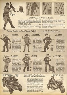 Action soldiers of the world. Vintage Toys 1970s, Retro Toys, Vintage Ads, Vintage Posters, 1960s Toys, Christmas Catalogs, Christmas Books, Vintage Christmas, Gi Joe