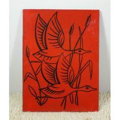 Décoration murale rouge en céramique avec oiseaux - 1960