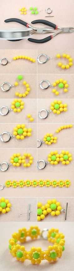 Spring Jewelry Design-How to Make a Beaded Yellow Flower Bracelet from LC.Pandahall.com | Jewelry Making Tutorials & Tips 2 | Pinterest by Jersica #jewelrymakingtutorials #jewelrymakingtips