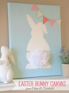 Easter Bunny Canvas with pom pom tail.  Such a cute and easy Easter DIY craft idea!    #easter #easterDIY #eastercrafts #pompoms