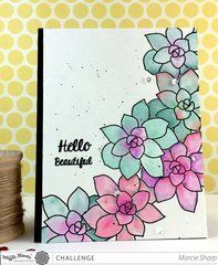 Love the watercolor succulents on this card made with Waffle Flower stamps!