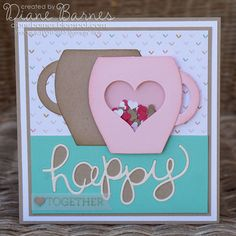 valentine - friend - love - shaker card. Using Stampin Up Crazy for You bundle & Curvy Keepsake die to make cups. By Di Barnes #colourmehappy