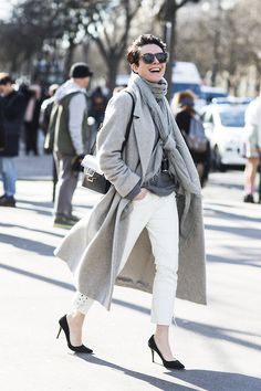 Short haircut, light grey neutrals and white pants