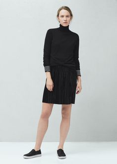 Pleated velvet skirt -  Women | MANGO