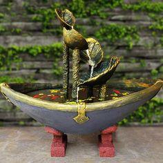 Cement Garden, Cement Art, Concrete Crafts, Concrete Art, Homemade Water Fountains, Diy Garden Fountains, Water Fountain For Home, Diy Fountain, Unusual Garden Ornaments