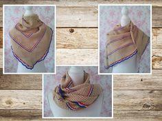 Crochet: triangular shawl (beige, red, white, blue)