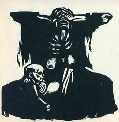 Käthe Kollwitz expressed grief about war and depression in early century. Woodcut Hunger dates from 1923 Schmidt, Statues, Georgia O'keeffe, Kathe Kollwitz, Mother Courage, A Level Art, Gcse Art, Gravure, Dark Art