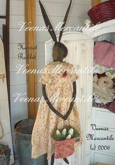 Primitive Folk Art Bunny Rabbit Doll Pattern by VeenasMercantile, $13.00