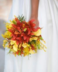 Buquê de noiva em amarelo e laranja
