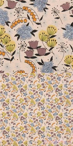 """peach fabric with flowers in dark taupe, orange, blue etc., Material: 100% cotton, Fabric Type: smooth cotton fabric, Pattern Repeat: ca. 20cm (7.9"""") #Cotton #Flower #Leaf #Plants #USAFabrics"""
