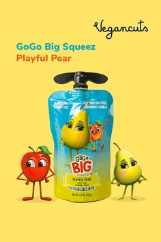 Upbeat, funny and sunny - that's Playful Pear. GoGo BIG squeeZ is a bold on-the-go fruit snack that's filled with 100% fruity deliciousness! Playful Pear is ½ a cup of juicy ripe pears & apples squeezed in a pouch with cinnamon and vanilla. With no added artificial ingredients or sugar, these are made with the best organic fruits sourced directly from evolved farms and orchards in the US. Always delicious.