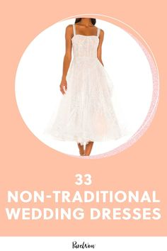 Your wedding is truly your day to shine, so you might as well live it up in the dress (or suit) of your dreams. Here, 33 non-traditional wedding dresses. #wedding #dress #nontraditional Minimalist Gown, Alternative Wedding Dresses, Traditional Wedding Dresses, Nontraditional Wedding, Tulle Gown, Pastel Floral, Frocks, Wedding Planner, Ball Gowns