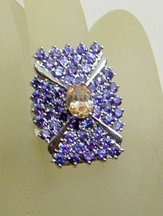 Vintage Amethyst And Citrine Ring  BIG  6.5-7  by JanEleven