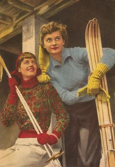 1940s ski sweaters clothing. Ski Sweaters with matching gloves and hats