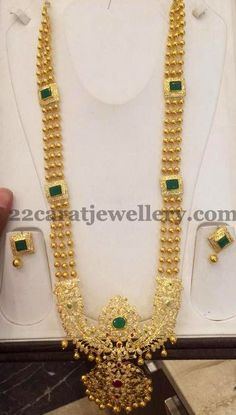 Jewellery Designs: Gold Beads Pathakam Haram