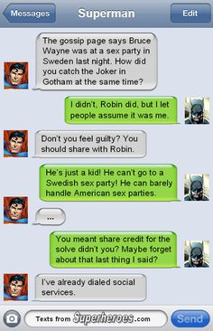 Robin needs Child Services: Texts From Superheroes