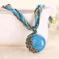 Bohemian Peacock Rhinestone Necklace