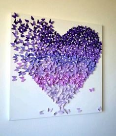 RESERVED for Mari -Purple Ombre Butterfly Heart, Butterfly Art, Nursery Decor, Girl's Room Art, Romantic Statement Art - Made to Order - Akifah Decor Diy And Crafts, Arts And Crafts, Paper Crafts, Diy Paper, Tissue Paper, Art Papillon, Purple Rooms, Butterfly Art, Purple Butterfly