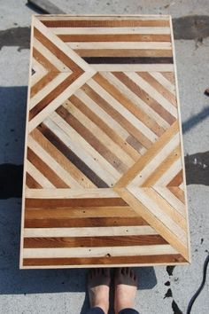 Wood table made from salvaged flooring by jodie