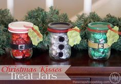 """Christmas Wonderful: Kisses Treat Jars...These Are So Adorable & Cute...You`ll Need 3 Quilted Mason Jars And At Least 2 Bags Of Christmas Hershey Kisses...Spray Paint (Red, White, Black), Or You Could Cover Up The Lid With Fabric & Ribbon...Glitter Glue Pen, Glue & 3 Pom Poms...Card Stock To Make Tags That Read, """" Santa Kisses"""", """"Snowman Kisses"""", """"Elf Kisses""""...Click On Picture For Tutorial..."""