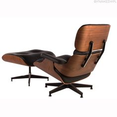 The Matt Blatt Replica Eames Lounge Chair and Ottoman - Premium Version by Charles and Ray Eames - Matt Blatt Black Ottoman, Chair And Ottoman, Armchair, Ball Chair, Egg Chair, Tulip Table, Furniture Factory, Charles & Ray Eames, Barcelona Chair