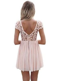 "Rosa A-Linie/Princess-Stil U-Ausschnitt Ã""rmellose Applikation Kurz/Mini-Chiffon. Grad Dresses, Homecoming Dresses, Summer Dresses, Skirt Outfits, Dress Skirt, Dress Up, Chiffon Dress, Pink Dress, Sequin Outfit"