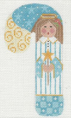 Adorable Angel 3 Christmas Candy Cane Hand Painted Needlepoint Canvas