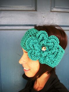 Crochet Headband/Earwarmer HERMOSAS BALACAS CON FLORES EN CROCHET