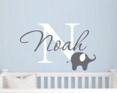 Childrens Name Elephant Wall Decal - Boys Name Vinyl Wall Decal - Baby Nursery Wall Decal