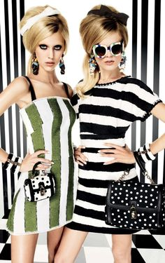 Graphics Gone Wild. Bold stripes and prints gone wild in this editorial featuring Hanne Gaby Odiele and Juliana Schurig for Vogue Japan March 2013 issue. Styled by the daring Anna Dello Russo.