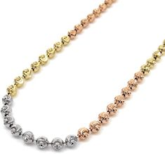 Add a dash of color and sparkle to your wardrobe with this 14K Tri-Color Gold Ball Bead Chain. Moon cut accents are phenomenal reflectors light of light. This buoys up your look and your spirits.  #necklace #jewelry