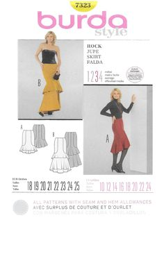 """Burda 7323 Misses Asymetrical Tiered Skirt Sewing Pattern Size 10 to 24 Bust 32 1/2 to 46"""" Waist 25 to 38"""" Hip 34 1/2 to 48"""" by Denisecraft on Etsy"""