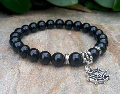 Black Beaded Gemstone Bracelet, Spider Web Charm, Black Onyx Bracelet, Positive Energy, Good Fortune, Healing Bracelet, Gothic Gift for Him