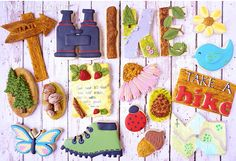 Take A Hike Decorated Cookie Collection — CookieCrazie Pie Decoration, Flower Decorations, Camping Cookies, Go Fly A Kite, Cookie Tutorials, Summer Cookies, Cut Out Cookies, Summer Fruit, Cookie Decorating