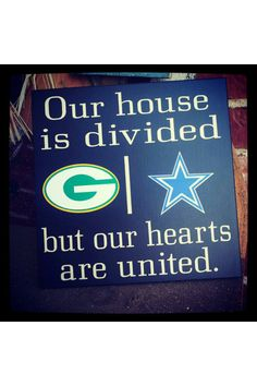 House divided with Dallas cowboys and Green Bay packers