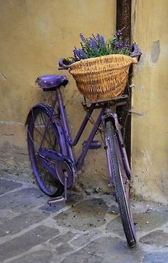Shabby lavender bike with flower basket. Should I paint my old bike lavender? Bicycle Basket, Bicycle Art, Photo Velo, Provence, Shabby Chic, Old Bikes, All Things Purple, Vintage Bicycles, Flower Basket