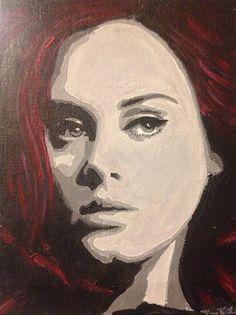 Adele painting Black White Red painting of by DsHandMadePaintings # adele #amazingvoice