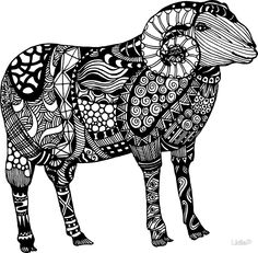 Ram Sheep Zentangle