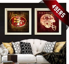 San Francisco Forty Niners - Combo Map Art Prints - Perfect Christmas and Birthday - Unframed Prints on Etsy, $39.50