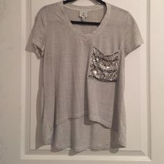 Tee with sequin pocket Grey and black stripe T-shirt with silver rhinestone pocket Hot & Delicious Tops Tees - Short Sleeve