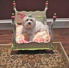 Recycle an unused end table by flipping it upside down to create a canopy-inspired pet bed.