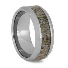 Deer Antler Wedding Band, Beveled Tungsten Ring-3616