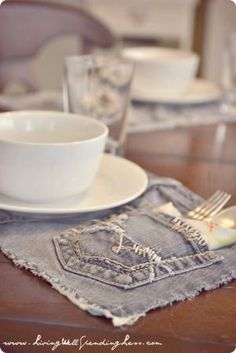 Upcycled Denim Placemats | New Use for Old Jeans | How to Recycle Jeans by kenya