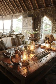 Stone, wood and neutrals - Wood and neutrals against stone wall::Tembo House, Lamu, Kenya African Interior Design, African Design, British Colonial Decor, Cosy Home, Home Decoracion, African Home Decor, Deco Boheme, Lodge Decor, Back To Nature