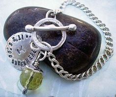 Bauble ~ Hand Stamped Forged Sterling Silver ~ metalsmithed by accessoryalamode, $62.00 you choose wording, color, size.