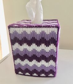 Excited to share this item from my shop: Purples and White Ripple Tissue Box Cover Plastic Canvas Coasters, Plastic Canvas Tissue Boxes, Plastic Canvas Crafts, Plastic Canvas Patterns, Tissue Box Holder, Tissue Box Covers, Candy Cane Decorations, Yarn Projects, Covered Boxes
