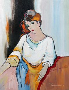 Untitled Seated Woman by Itzchak Tarkay, Original Painting, Acrylic on Canvas