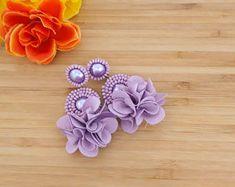 Purple Lilac Earring, Amethyst, Plum, Pastel, Medium Orchid, Lavender, Violet, Beaded, Beadwork, Statement, Floral Flower, Boho Gift, Bride