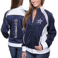 Dallas Cowboys Ladies Clover Full-Zip Hoodie - Ash/Navy Blue